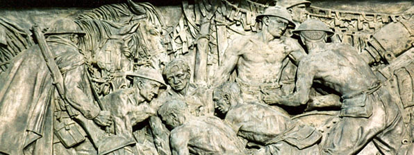From Raynor Hoff's carved granite frieze at the ANZAC War Memorial in Sydney's Hyde Park c. 2010