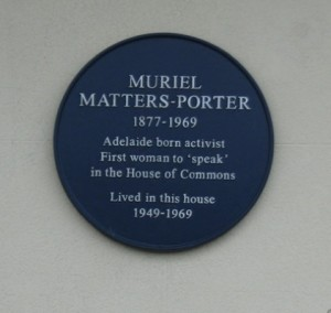 Plaque to Murial Matters in Pelham Crescent
