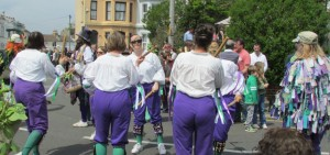All female morris dancers deliberately dressed in WSPU colours - Hastings