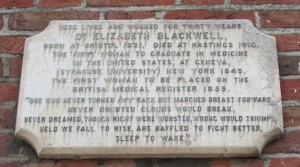 Plaque to Elizabeth Blackwell in Exmouth Place, Hastings
