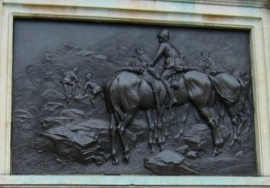 Close up of the Carabiniers memorial by Adrian Jones on the Chelsea Embankment