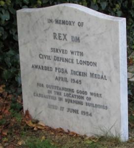 Individual memorial in PDSA cemetery