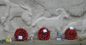Close up of the frieze on the Animals in War Memorial in Park Lane