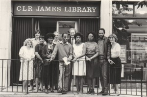 James Baldwin outside the C.L.R. James library in Dalston Lane. courtesy of Hackney libraries