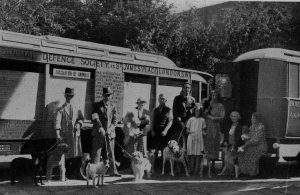Nina Duchess of Hamilton, seated right. and other members of the Animal Defence Society preparing to evacuate dogsd from London to Ferne
